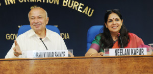 The Union Home Minister, Shri Sushil Kumar Shinde holding a press conference to present the Report Card of the Ministry of Home Affairs for the month of June 2013, in New Delhi on July 10, 2013. The Principal Director General (M&C), Press Information Bureau, Smt. Neelam Kapur is also seen