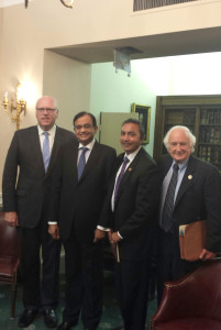 The Union Finance Minister, Shri P. Chidambaram with the Members of US Congress, the Co-Chair of House India Caucus Congressman, Mr. Joe Crowley from New York, the Congressman, Mr. Ami Bera from California and the Congressman, Mr. Erik Paulsen from Minnesota, during a meeting, in Washington DC on July 11, 2013.