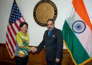 The Union Minister for Commerce & Industry, Shri Anand Sharma with the US Commerce Secretary, Ms. Penny Pritzker, in Washington DC on July 12, 2013.