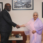 The Minister of Culture of the Republic of Senegal, Mr. Adboul Aziz Mbaye meeting the Union Minister for Culture, Smt. Chandresh Kumari Katoch, i