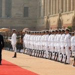 The Prime Minister of the Republic of Hungary, Mr. Viktor Orban inspecting the Guard of Honour, at the Ceremonial Reception, at Rashtrapati Bhavan, in New Delhi on October 17, 2013.