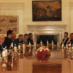 The Prime Minister, Dr. Manmohan Singh and the Prime Minister of the Republic of Hungary, Mr. Viktor Orban, at the delegation level talks, in New Delhi on October 17, 2013.