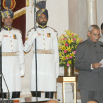 The President, Shri Pranab Mukherjee administering the oath of Office to Shri K.V. Chowdary as the Central Vigilance Commissioner,