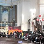 Devotees throng to pray for Jesus Christ, at Sacred Heart Cathedral Church on the occasion of Christmas, at Gol Dak Khana, in New Delhi on December 25, 2013.