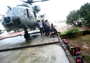 The Indian Air Force Helicopters carrying out rescue, relief and evacuation of people marooned during the flood fury, in Jammu and Kashmir