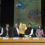 The Minister of State (Independent Charge) for Information & Broadcasting, Shri Manish Tewari releasing a poster on 44th International Film Festival of India, at a press conference, in New Delhi on November 07, 2013. The Secretary, Ministry of Information & Broadcasting, Shri Bimal Julka, the Principal Director General (M&C), Press Information Bureau, Smt. Neelam Kapur and other dignitaries are also seen.