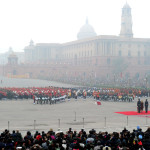The Band performing at the Beating the Retreat Ceremony, in New Delhi on January 29, 2014.