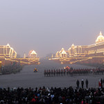 A view of the illuminated Rashtrapati Bhawan, South and North Block, during the Beating the Retreat Ceremony, in New Delhi on January 29, 2014.