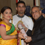 The President, Shri Pranab Mukherjee presenting the Padma Shri Award to Ms. Vidya Balan,